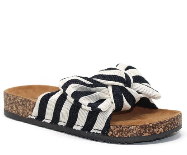Bow Sandal -  black and white