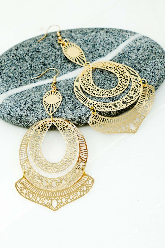 four layer stamped earrings