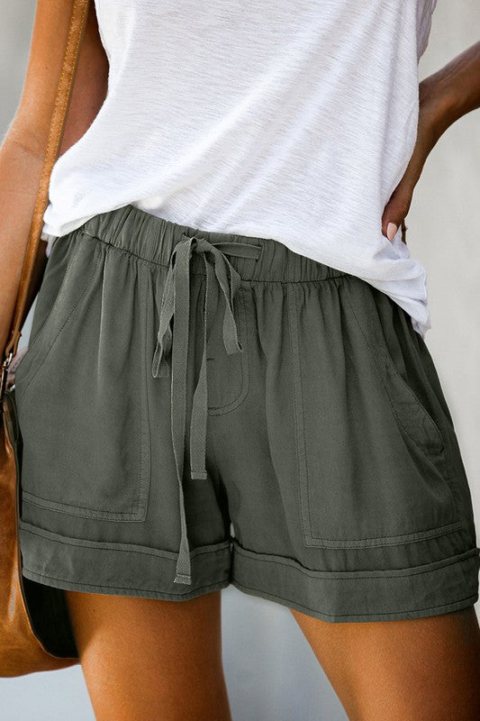 heather green shorts