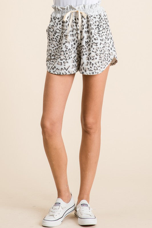 Hailey leopard French Terry Shorts