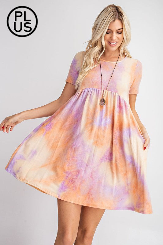Baby Doll Dress - Orange and Lavender - Plus