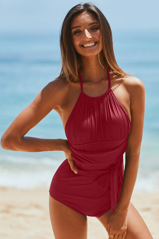 High Neck Halter One Piece