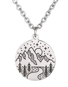 Mountain Stream Stamp Necklace