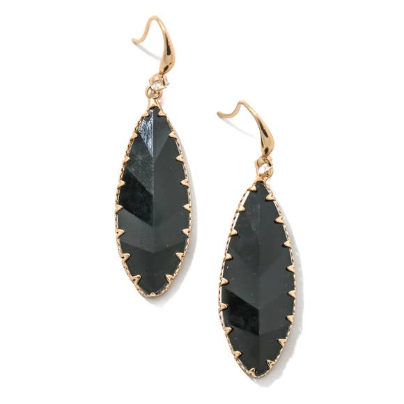 Faceted Oval Drop Charm Earrings - Black