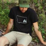 Montana Tree Outline Unisex Tee - Black