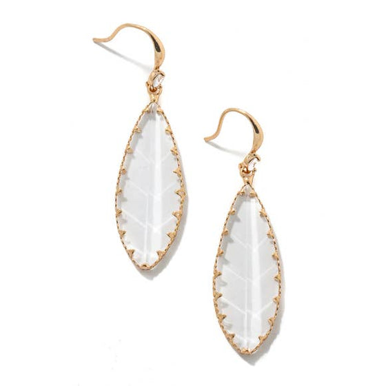 Faceted Oval Drop Charm Earrings - Clear