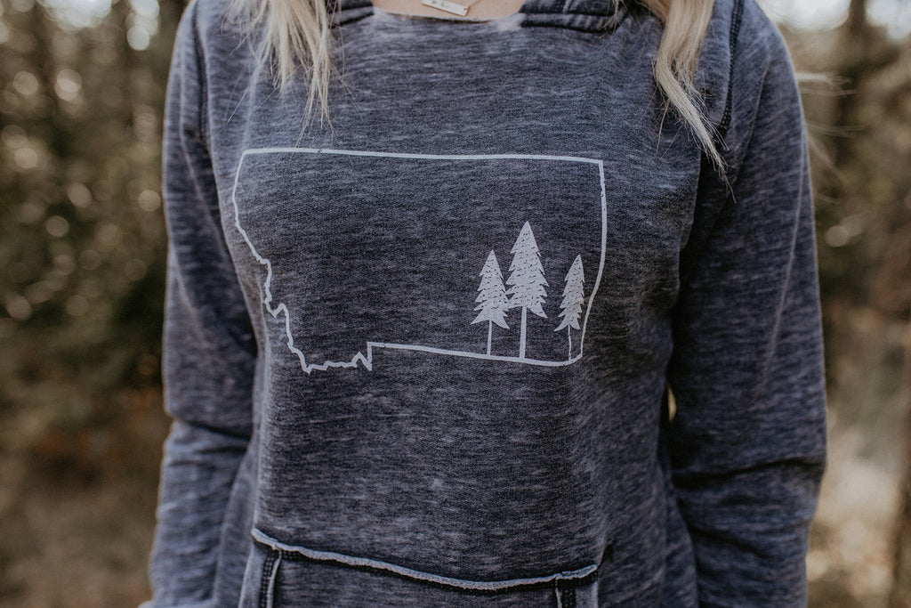 Montana Tree Outline Hoodie Grey