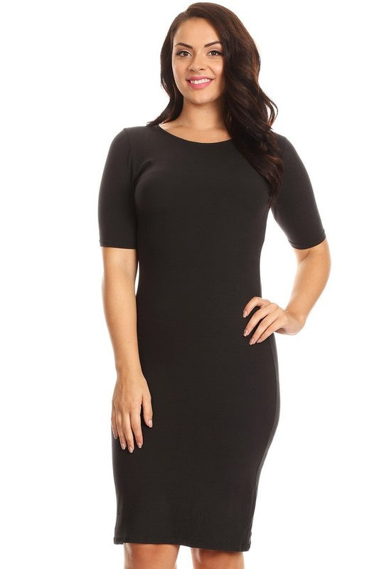 Bodycon Crew Neck Midi Dress