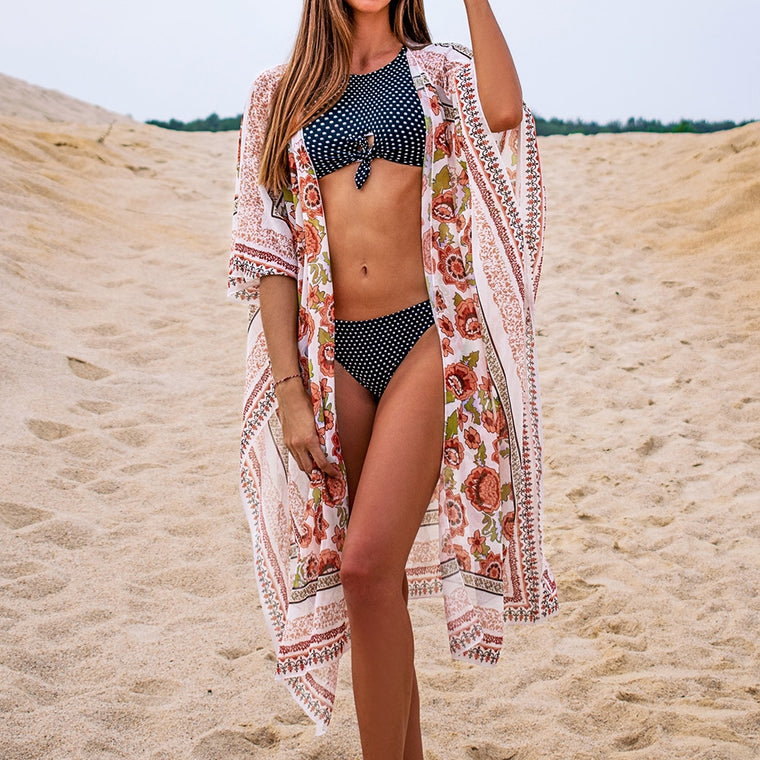 Orange Floral Swim Coverup