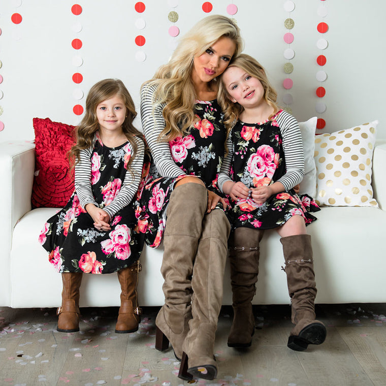 Floral Long Sleeve Mom and Me Dress