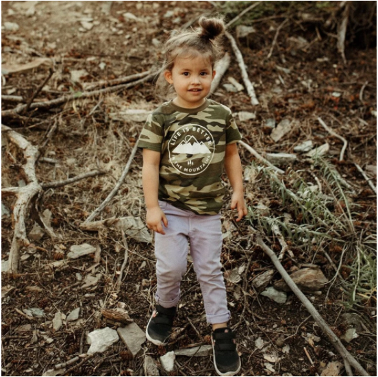 Life is Better in the Mountains Kids Tee - Camo