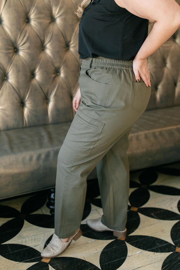 Peighton Paper Bag Pants in Olive