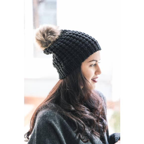 Textured Beanie With Pom Pom - Black