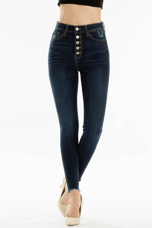 High Waist Button-fly Skinnies