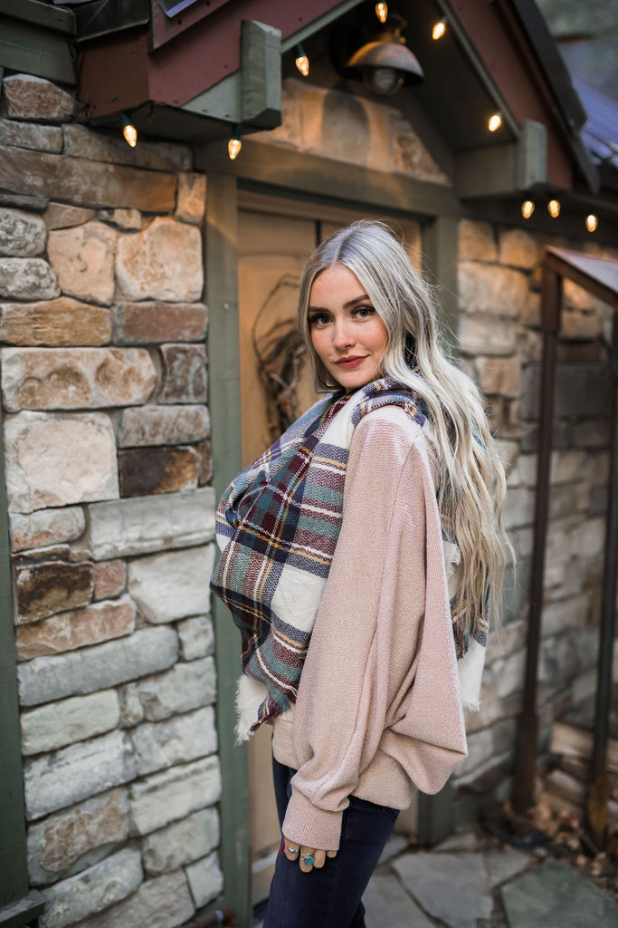 Mad for Plaid Blanket Scarf in Wine & Sage