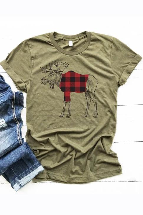 Buffalo Plaid Moose T