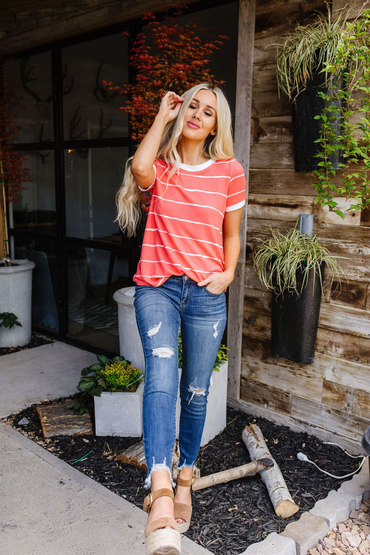 Play Day Coral Stripped Top