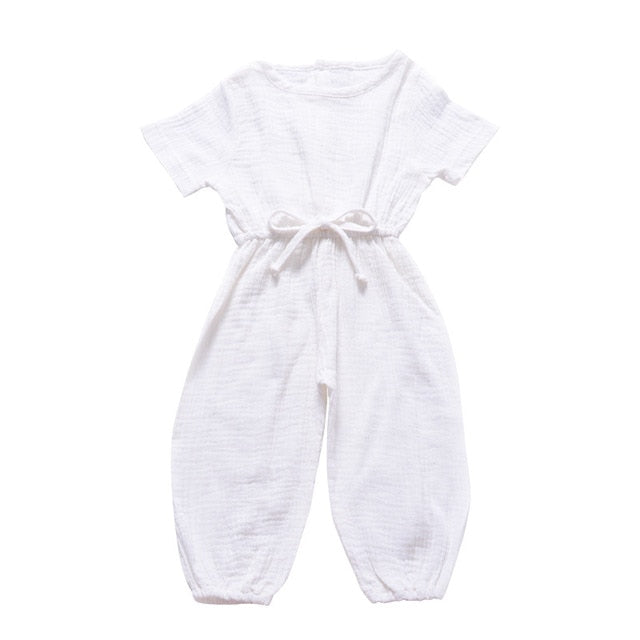 Linen Cotton Sleeveless Solid Color Girls Jumpsuit