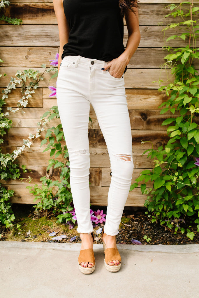 Ripped Knee White Kancan Jeans