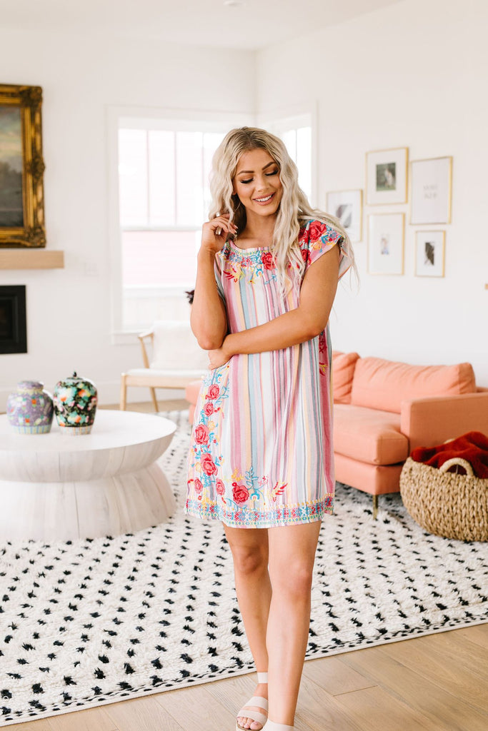 Stripes and blooms abound dress