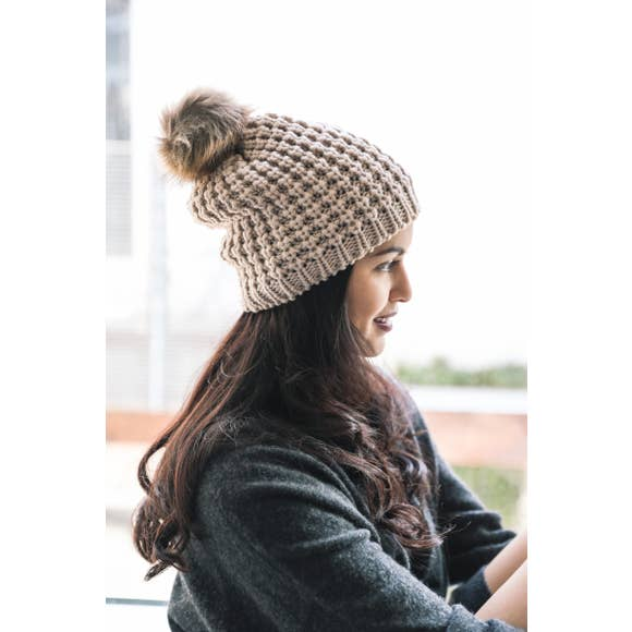 Textured Beanie With Pom Pom - Mocha