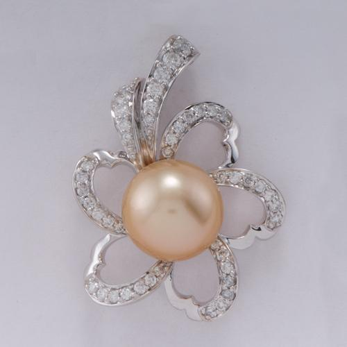 South Sea Golden Pearl Pendant In 14K Yellow And White Gold (12-13mm)