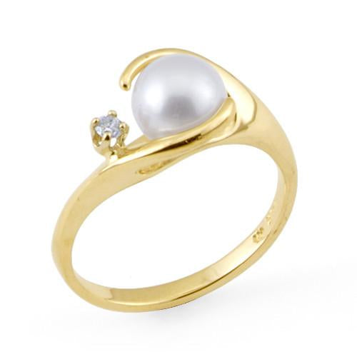 Akoya Pearl Ring with Diamond in 14K Yellow Gold (7-7.5mm)
