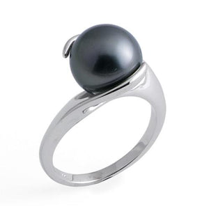 Tahitian Black Pearl Ring in 14K White Gold (10-11mm)