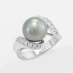 Tahitian Black Pearl Ring with Diamonds in 14K White Gold (10-11mm) 006-04637