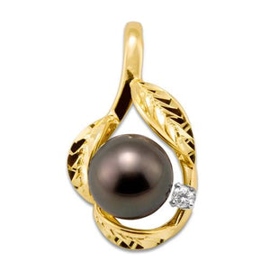 Tahitian Black Pearl Pendant with Diamond in 14K Yellow Gold (9-10mm)