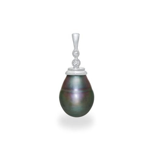 Tahitian Black Pearl Pendant with Diamonds in 14K White Gold (10-11mm)