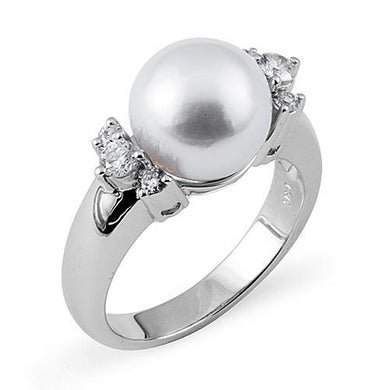 South Sea White Pearl Ring with Diamonds in 14K White Gold (10-11mm)