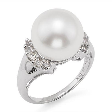 South Sea White Pearl Ring with Diamonds in 14K White Gold (12-13mm)
