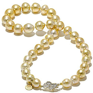 South Sea Golden Pearl Strand with Diamonds in 14K Yellow Gold (10-13mm)