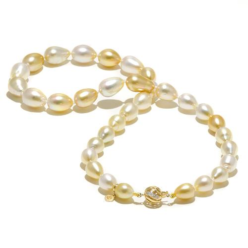 South Sea Pearl Strand with Diamonds in 14K Yellow Gold (8-10mm)