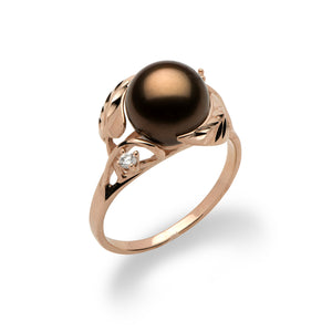 Chocolate Tahitian Pearl Ring with Diamonds in 14K Rose Gold (9-10mm)
