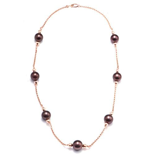 Chocolate Tahitian Pearl Necklace in 14K Rose Gold (9-10mm)