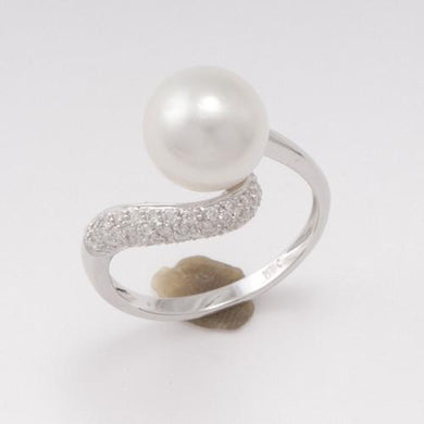 South Sea White Pearl Ring with Diamonds in 14K White Gold (9-10mm) 006-12283