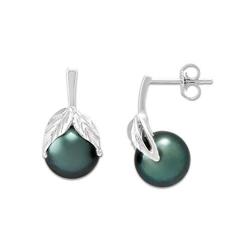Tahitian Black Pearl Earrings in 14K White Gold (9-10mm)
