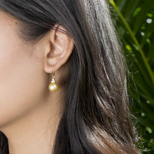 画像をギャラリービューアに読み込む, South Sea Golden Pearl Earrings with Diamonds in 14K Yellow Gold (9-10mm)