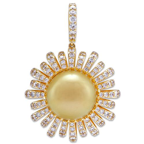 South Sea Golden Pearl Pendant with Diamonds in 14K Yellow Gold (13-14mm)