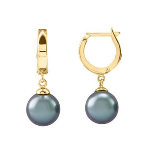 Tahitian Black Pearl Earrings in 14K Yellow Gold (9-10mm)