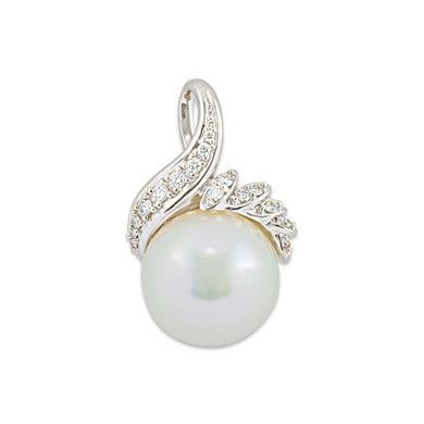 South Sea White Pearl Pendant with Diamonds in 14K White Gold (14-15mm)