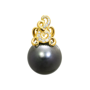 Paisley Tahitian Black Pearl Pendant with Diamonds in 14K Yellow Gold (16-17mm)
