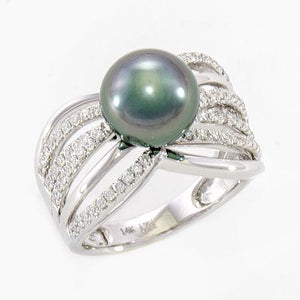 Tahitian Black Pearl Ring with Diamonds In 14K White Gold (9-10MM)