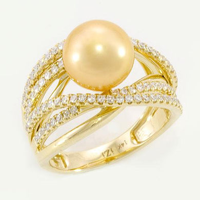 South Sea Golden Pearl Ring with Diamonds in 14K Yellow Gold (9-10mm)