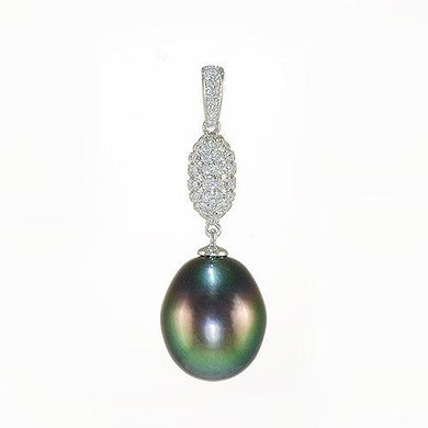 Tahitian Black Pearl Pendant In 14K White Gold (10-11mm)