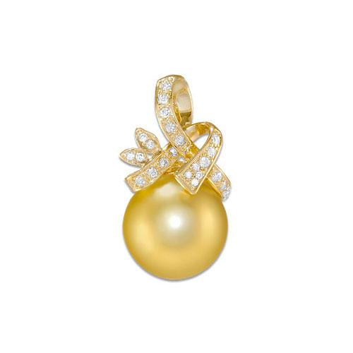 South Sea Golden Pearl Pendant with Diamonds in 14K Yellow Gold (12-13mm)