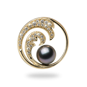 Nalu Double Wave Tahitian Black Pearl Pendant with Diamonds in 14K Yellow Gold - 24mm