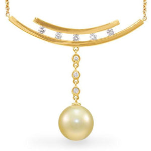 South Sea Golden Pearl Necklace with Diamonds in 14K Yellow Gold (11-12mm)